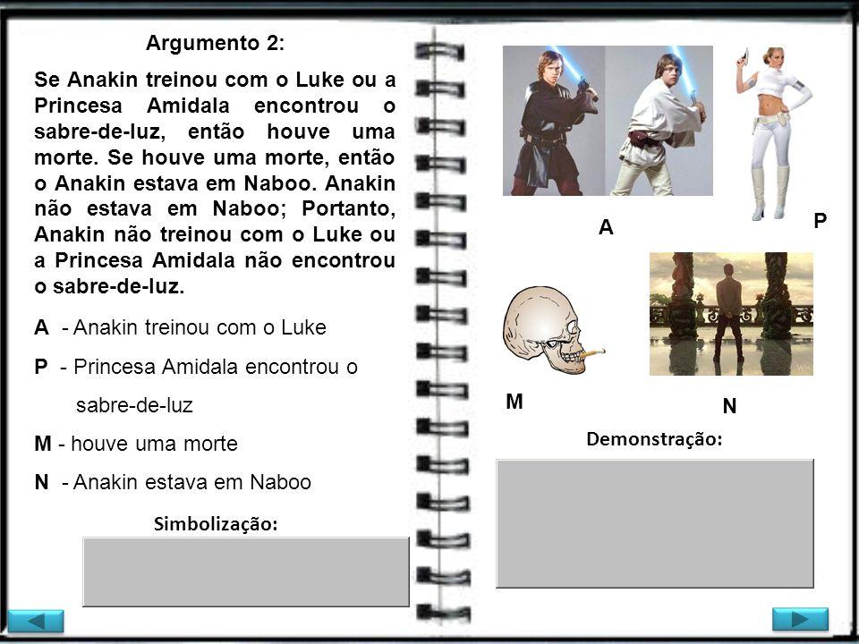 Se Anakin treinou com o Luke ou a Princesa Amidala encontrou o sabre-de-luz, então houve uma morte. Se houve uma morte, então o Anakin estava em Naboo