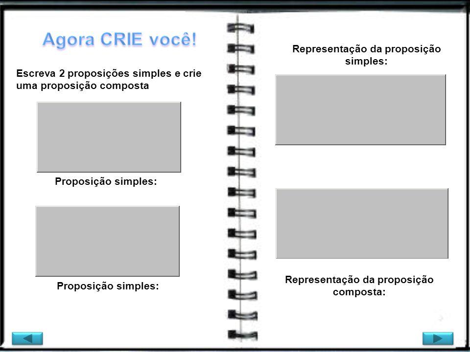 Escreva 2 proposições simples e crie uma proposição composta Representação da proposição simples: Representação da proposição composta: Proposição sim