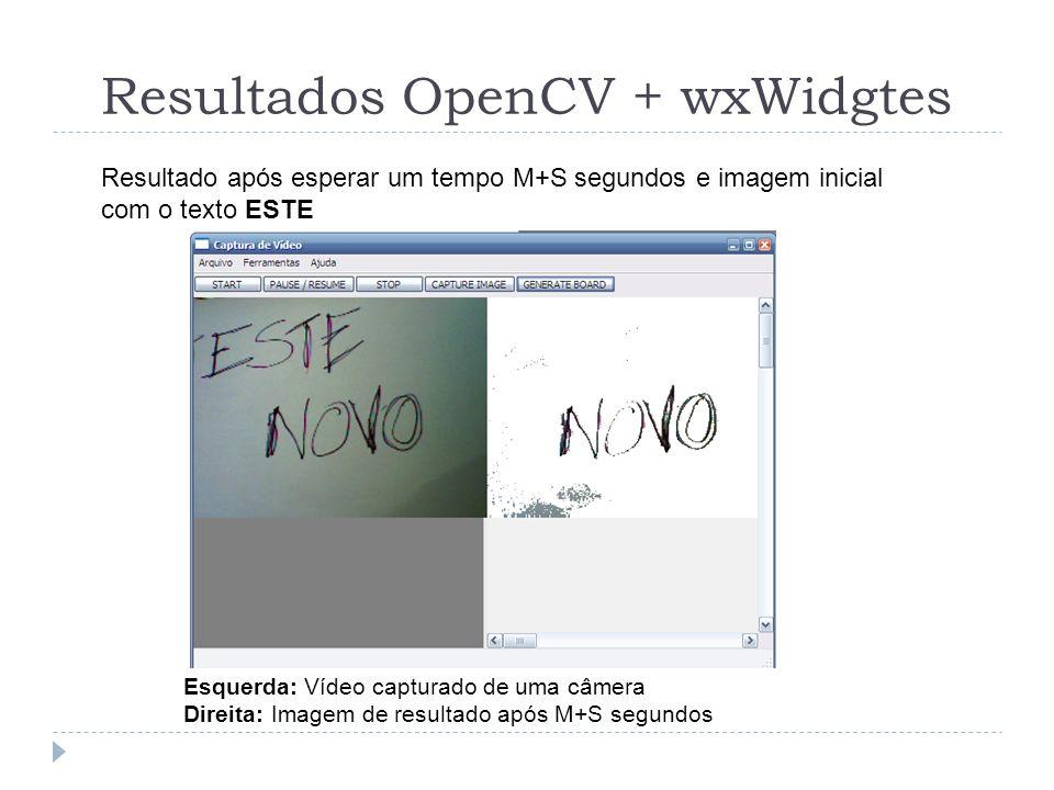 Resultados OpenCV + wxWidgtes Esquerda: Vídeo capturado de uma câmera Direita: Imagem de resultado após M+S segundos Resultado após esperar um tempo M