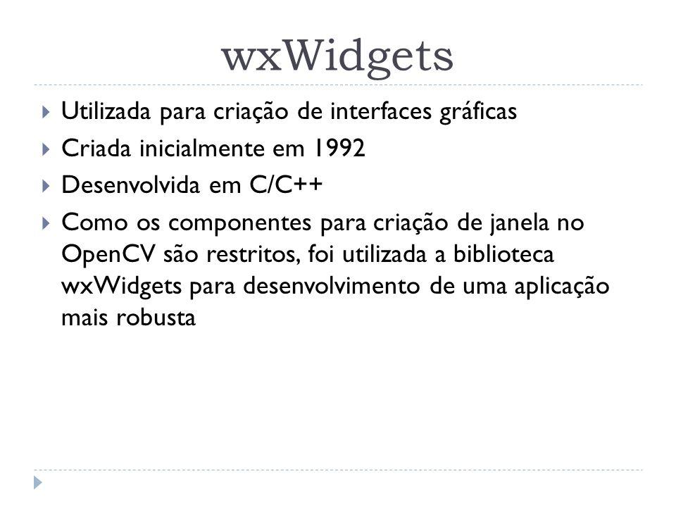 wxWidgets Utilizada para criação de interfaces gráficas Criada inicialmente em 1992 Desenvolvida em C/C++ Como os componentes para criação de janela n