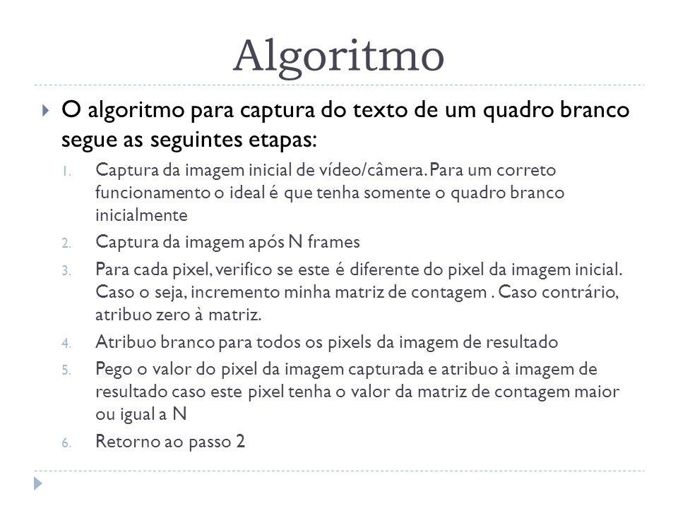 Algoritmo O algoritmo para captura do texto de um quadro branco segue as seguintes etapas: 1. Captura da imagem inicial de vídeo/câmera. Para um corre
