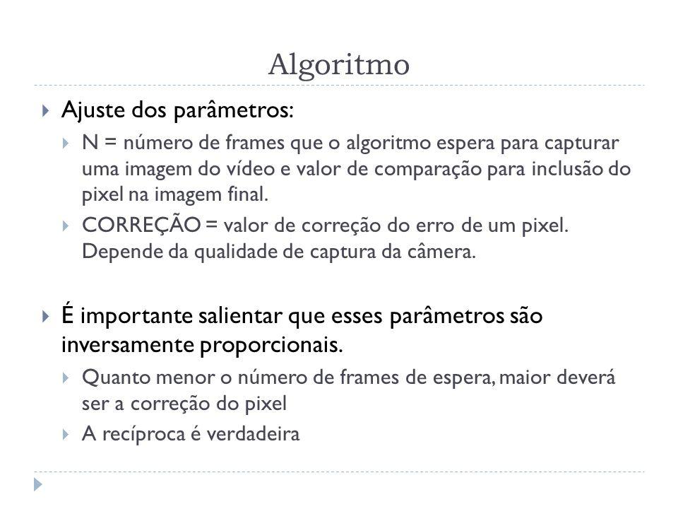 Algoritmo Ajuste dos parâmetros: N = número de frames que o algoritmo espera para capturar uma imagem do vídeo e valor de comparação para inclusão do