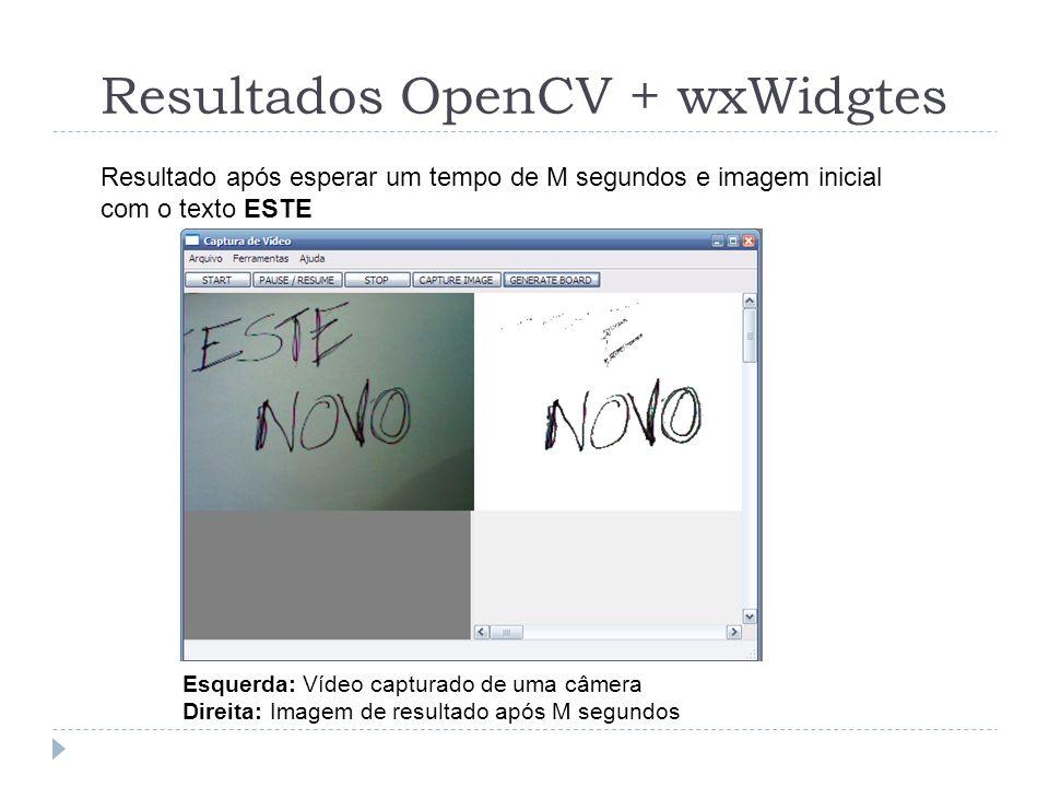 Resultados OpenCV + wxWidgtes Esquerda: Vídeo capturado de uma câmera Direita: Imagem de resultado após M segundos Resultado após esperar um tempo de