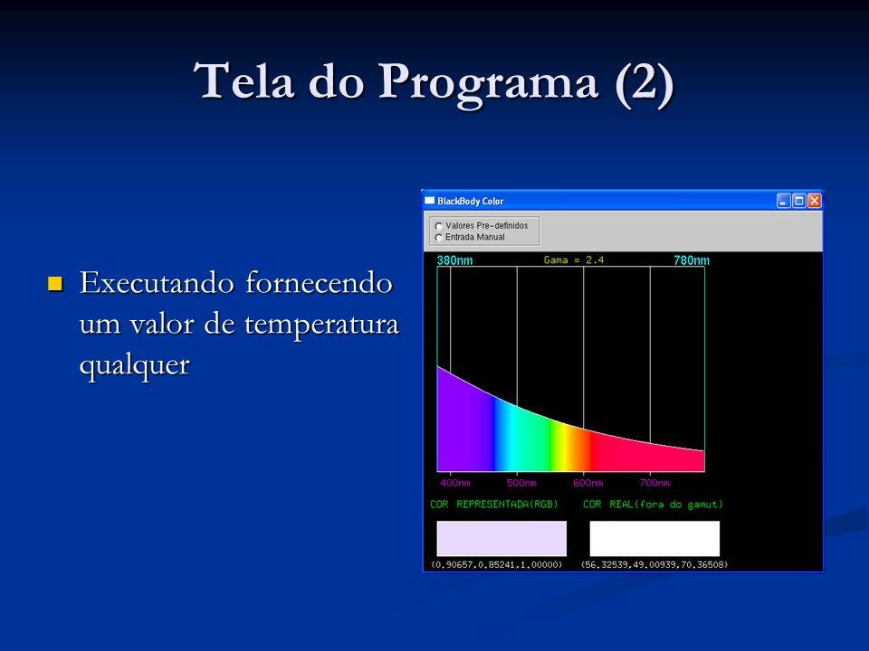 Tela do Programa (2) Executando fornecendo um valor de temperatura qualquer Executando fornecendo um valor de temperatura qualquer