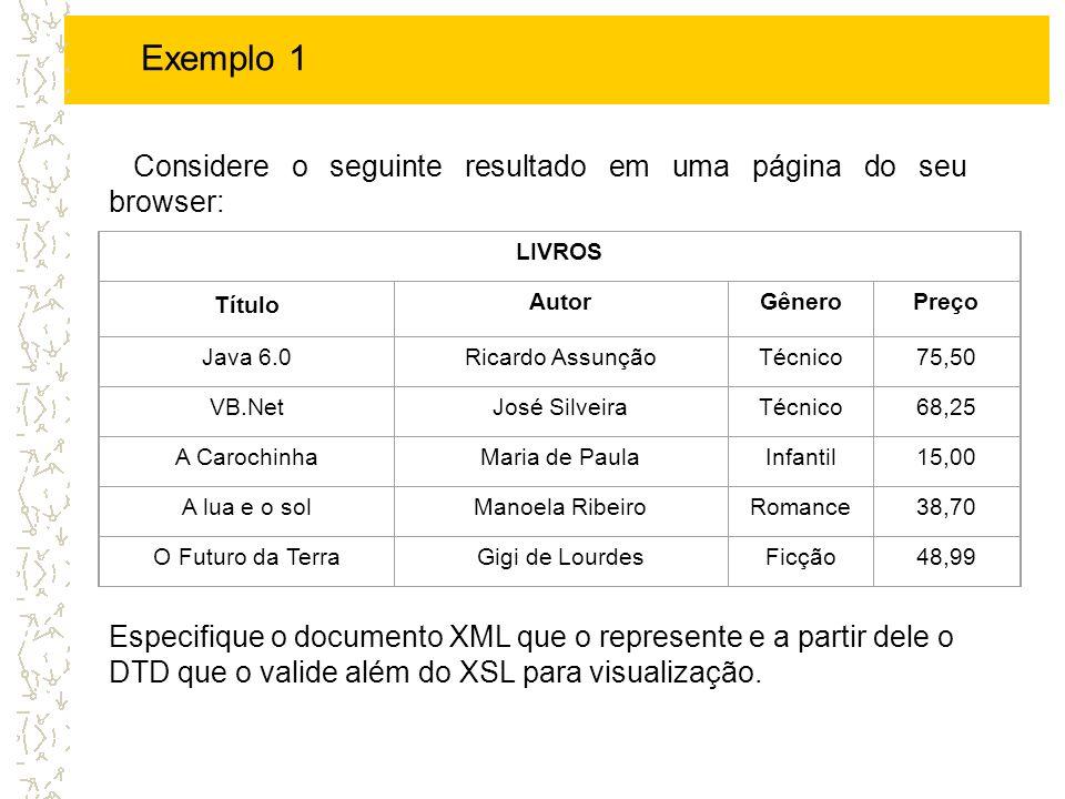 Exemplo 1 - XML Java 6.0 Ricardo Assuncao Tecnico 75,50 VB.Net Jose Silveira Tecnico 68,25