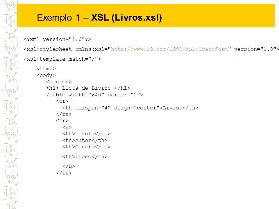 Exemplo 1 – XSL (Livros.xsl) http://www.w3.org/1999/XSL/Transform Lista de Livros Livros Titulo Autor Genero Preco