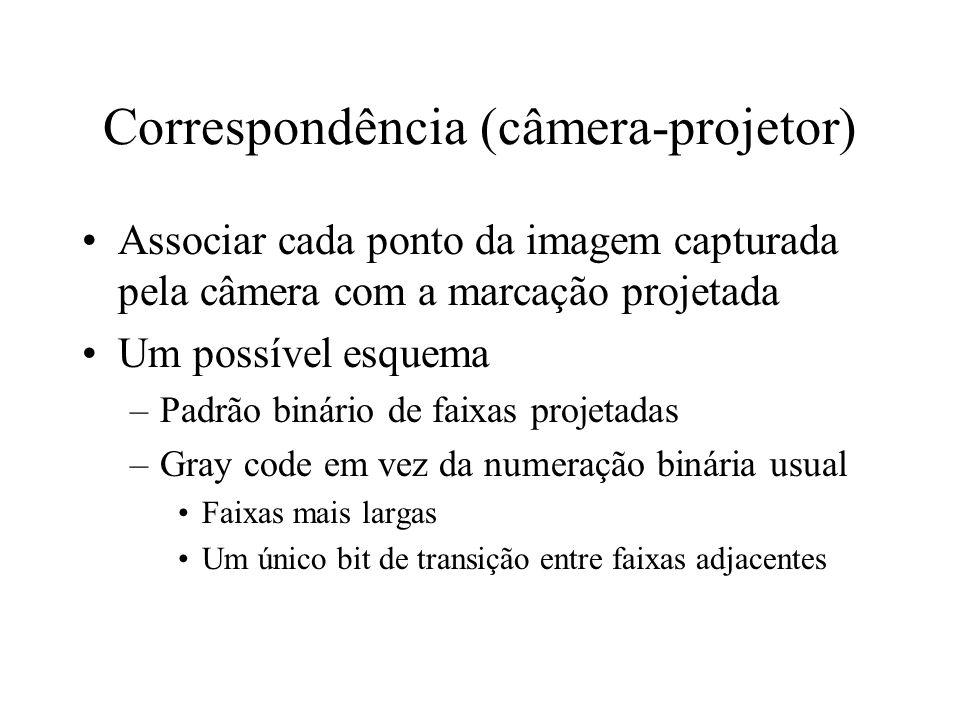 Correspondência (câmera-projetor) Associar cada ponto da imagem capturada pela câmera com a marcação projetada Um possível esquema –Padrão binário de faixas projetadas –Gray code em vez da numeração binária usual Faixas mais largas Um único bit de transição entre faixas adjacentes