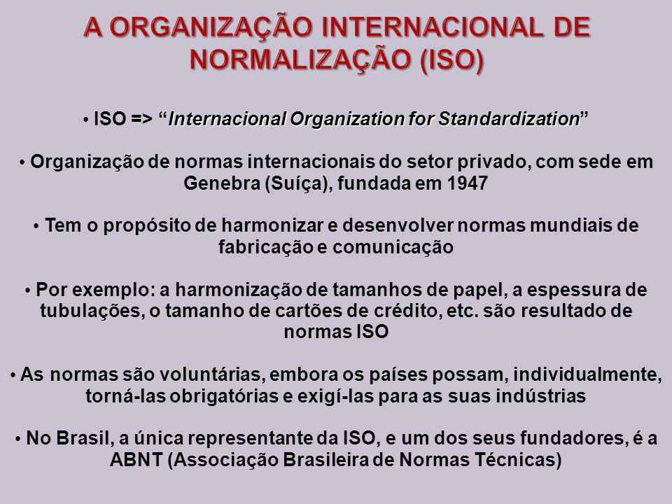 Internacional Organization for Standardization ISO => Internacional Organization for Standardization Organização de normas internacionais do setor privado, com sede em Genebra (Suíça), fundada em 1947 Tem o propósito de harmonizar e desenvolver normas mundiais de fabricação e comunicação Por exemplo: a harmonização de tamanhos de papel, a espessura de tubulações, o tamanho de cartões de crédito, etc.