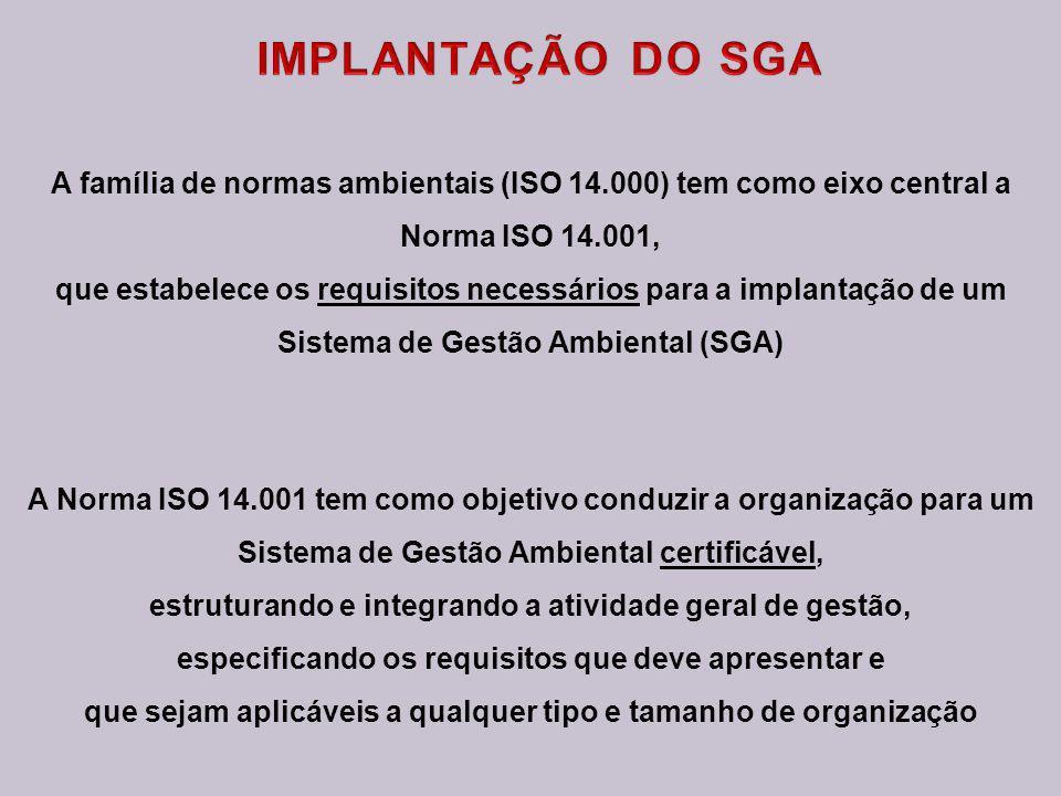 A família de normas ambientais (ISO 14.000) tem como eixo central a Norma ISO 14.001, que estabelece os requisitos necessários para a implantação de um Sistema de Gestão Ambiental (SGA) A Norma ISO 14.001 tem como objetivo conduzir a organização para um Sistema de Gestão Ambiental certificável, estruturando e integrando a atividade geral de gestão, especificando os requisitos que deve apresentar e que sejam aplicáveis a qualquer tipo e tamanho de organização