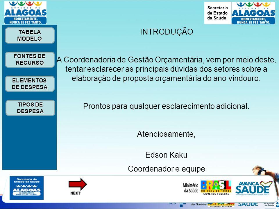 Secretaria de Estado da Saúde ELEMENTOS DE DESPESA ELEMENTOS DE DESPESA FONTES DE RECURSO FONTES DE RECURSO TABELA MODELO TABELA MODELONEXT TIPOS DE DESPESA TIPOS DE DESPESA INTRODUÇÃO A Coordenadoria de Gestão Orçamentária, vem por meio deste, tentar esclarecer as principais dúvidas dos setores sobre a elaboração de proposta orçamentária do ano vindouro.