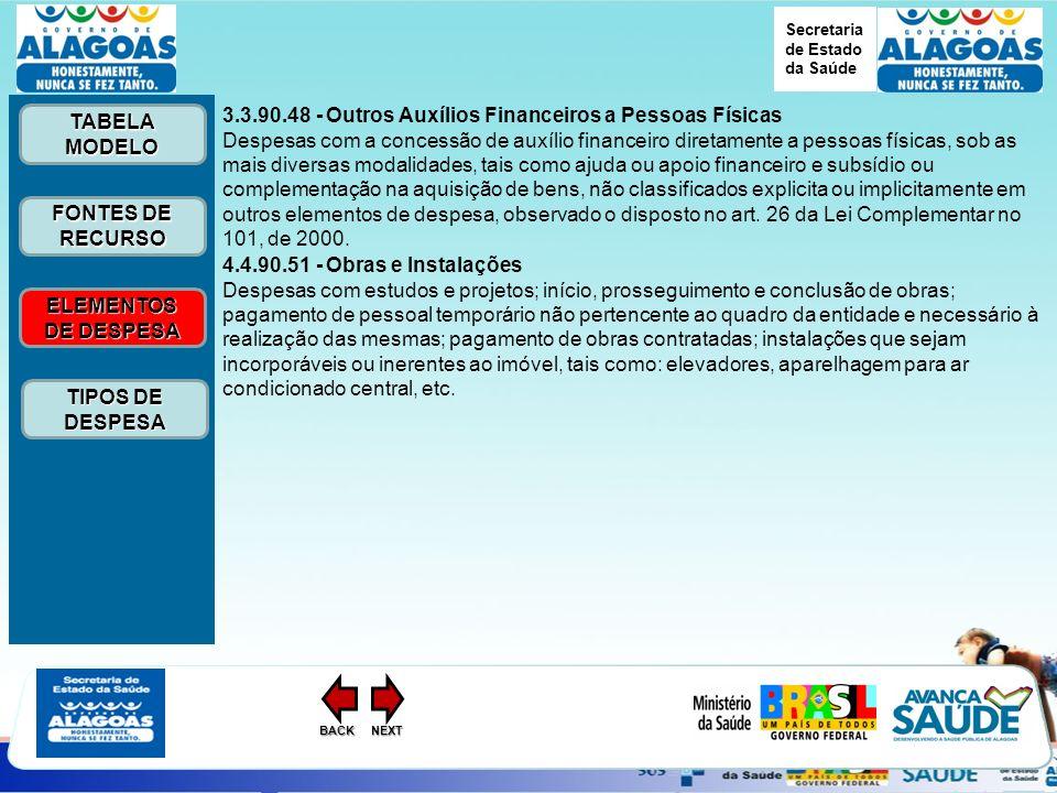 Secretaria de Estado da Saúde ELEMENTOS DE DESPESA ELEMENTOS DE DESPESA FONTES DE RECURSO FONTES DE RECURSO TABELA MODELO TABELA MODELO TIPOS DE DESPESA TIPOS DE DESPESANEXTBACK 3.3.90.48 - Outros Auxílios Financeiros a Pessoas Físicas Despesas com a concessão de auxílio financeiro diretamente a pessoas físicas, sob as mais diversas modalidades, tais como ajuda ou apoio financeiro e subsídio ou complementação na aquisição de bens, não classificados explicita ou implicitamente em outros elementos de despesa, observado o disposto no art.