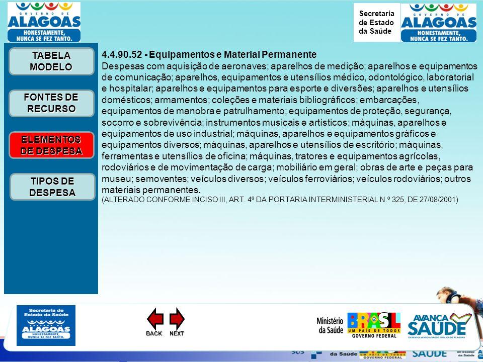 Secretaria de Estado da Saúde ELEMENTOS DE DESPESA ELEMENTOS DE DESPESA FONTES DE RECURSO FONTES DE RECURSO TABELA MODELO TABELA MODELO TIPOS DE DESPESA TIPOS DE DESPESANEXTBACK 4.4.90.52 - Equipamentos e Material Permanente Despesas com aquisição de aeronaves; aparelhos de medição; aparelhos e equipamentos de comunicação; aparelhos, equipamentos e utensílios médico, odontológico, laboratorial e hospitalar; aparelhos e equipamentos para esporte e diversões; aparelhos e utensílios domésticos; armamentos; coleções e materiais bibliográficos; embarcações, equipamentos de manobra e patrulhamento; equipamentos de proteção, segurança, socorro e sobrevivência; instrumentos musicais e artísticos; máquinas, aparelhos e equipamentos de uso industrial; máquinas, aparelhos e equipamentos gráficos e equipamentos diversos; máquinas, aparelhos e utensílios de escritório; máquinas, ferramentas e utensílios de oficina; máquinas, tratores e equipamentos agrícolas, rodoviários e de movimentação de carga; mobiliário em geral; obras de arte e peças para museu; semoventes; veículos diversos; veículos ferroviários; veículos rodoviários; outros materiais permanentes.