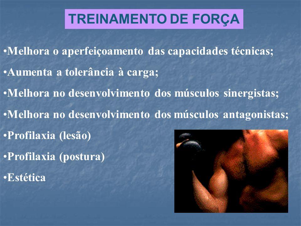 TREINAMENTO DE FORÇA Melhora o aperfeiçoamento das capacidades técnicas; Aumenta a tolerância à carga; Melhora no desenvolvimento dos músculos sinergi