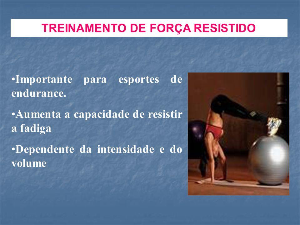 TREINAMENTO DE FORÇA RESISTIDO Importante para esportes de endurance. Aumenta a capacidade de resistir a fadiga Dependente da intensidade e do volume