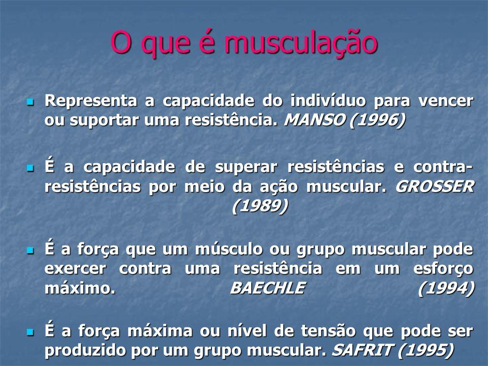 O que é musculação Representa a capacidade do indivíduo para vencer ou suportar uma resistência. MANSO (1996) Representa a capacidade do indivíduo par