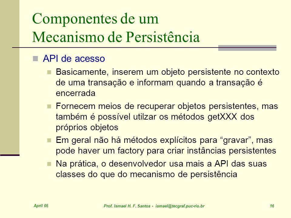 April 05 Prof. Ismael H. F. Santos - ismael@tecgraf.puc-rio.br 16 Componentes de um Mecanismo de Persistência API de acesso Basicamente, inserem um ob