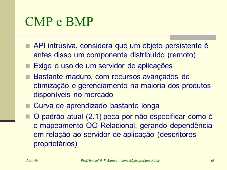 April 05 Prof. Ismael H. F. Santos - ismael@tecgraf.puc-rio.br 19 CMP e BMP API intrusiva, considera que um objeto persistente é antes disso um compon