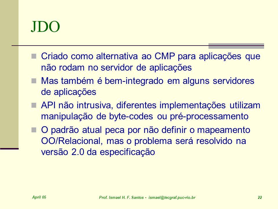 April 05 Prof. Ismael H. F. Santos - ismael@tecgraf.puc-rio.br 22 JDO Criado como alternativa ao CMP para aplicações que não rodam no servidor de apli