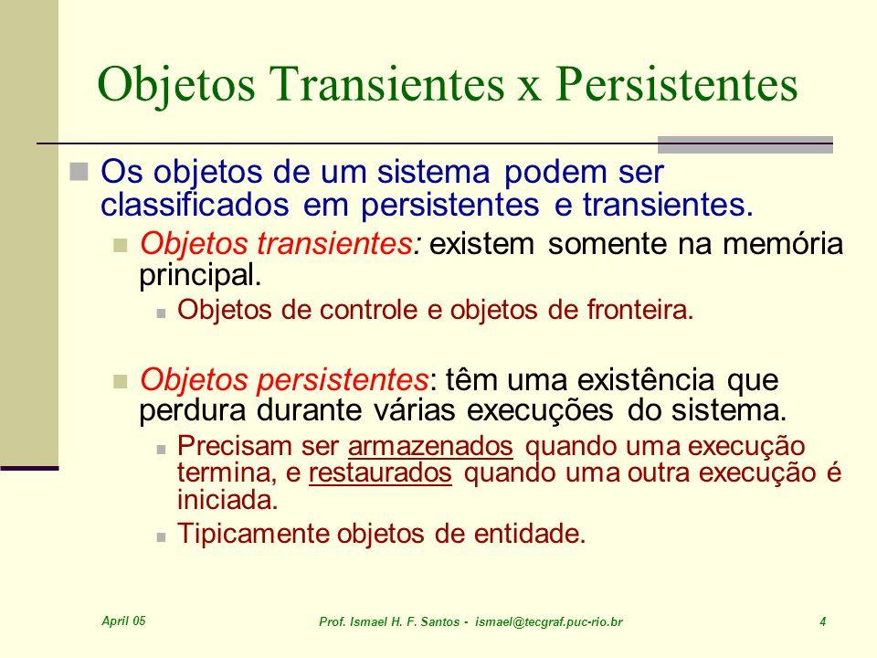 April 05 Prof. Ismael H. F. Santos - ismael@tecgraf.puc-rio.br 4 Objetos Transientes x Persistentes Os objetos de um sistema podem ser classificados e