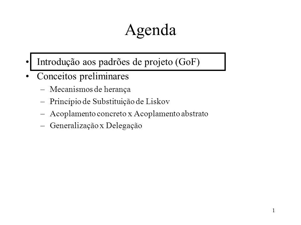 1 Introdução aos padrões de projeto (GoF) Conceitos preliminares –Mecanismos de herança –Princípio de Substituição de Liskov –Acoplamento concreto x Acoplamento abstrato –Generalização x Delegação Agenda