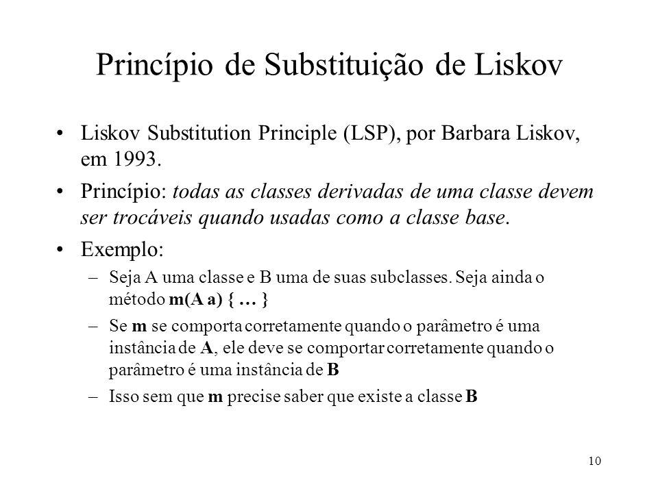 10 Princípio de Substituição de Liskov Liskov Substitution Principle (LSP), por Barbara Liskov, em 1993.
