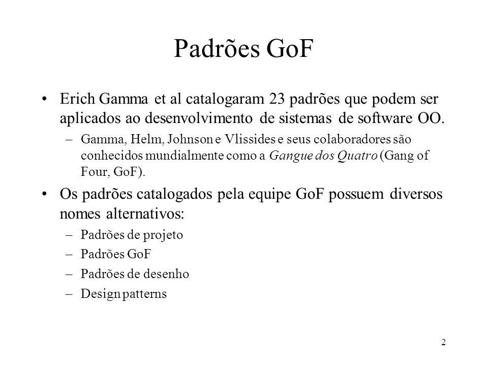 2 Padrões GoF Erich Gamma et al catalogaram 23 padrões que podem ser aplicados ao desenvolvimento de sistemas de software OO.