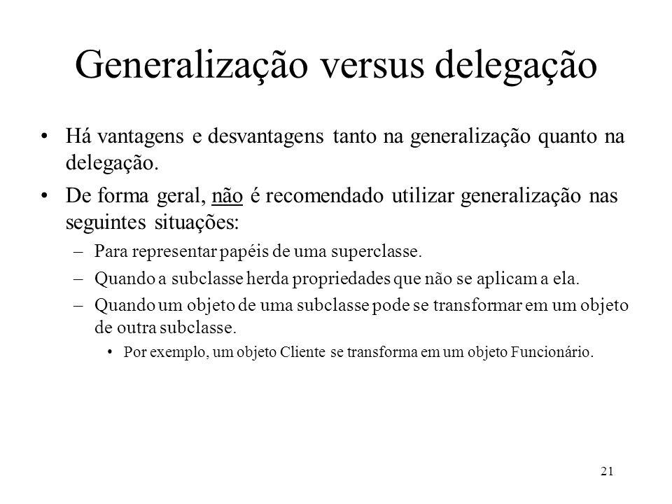 21 Generalização versus delegação Há vantagens e desvantagens tanto na generalização quanto na delegação.