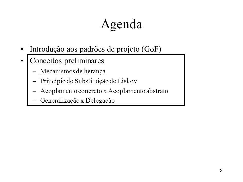 5 Agenda Introdução aos padrões de projeto (GoF) Conceitos preliminares –Mecanismos de herança –Princípio de Substituição de Liskov –Acoplamento concreto x Acoplamento abstrato –Generalização x Delegação