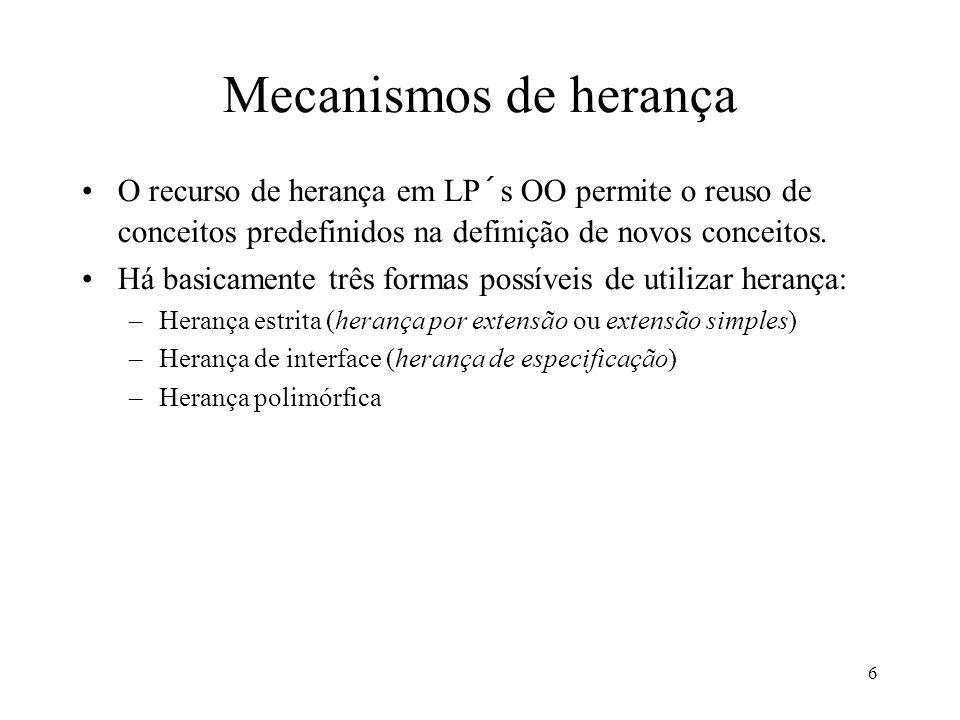 6 Mecanismos de herança O recurso de herança em LP´s OO permite o reuso de conceitos predefinidos na definição de novos conceitos.