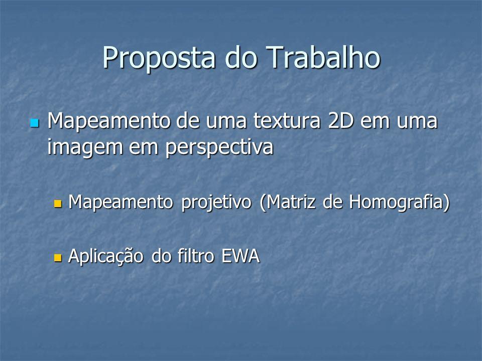 Proposta do Trabalho Mapeamento de uma textura 2D em uma imagem em perspectiva Mapeamento de uma textura 2D em uma imagem em perspectiva Mapeamento pr