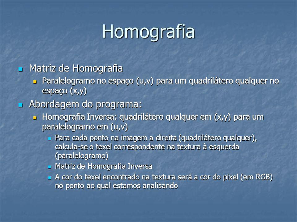 Homografia Matriz de Homografia Matriz de Homografia Paralelogramo no espaço (u,v) para um quadrilátero qualquer no espaço (x,y) Paralelogramo no espa
