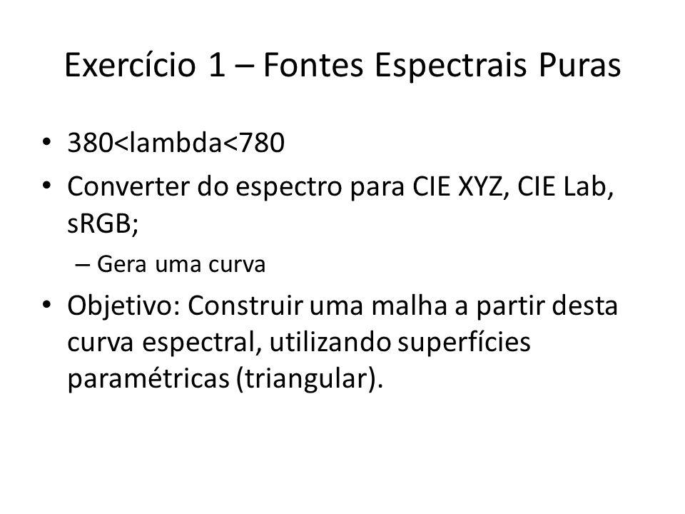 Exercício 1 – Fontes Espectrais Puras 380<lambda<780 Converter do espectro para CIE XYZ, CIE Lab, sRGB; – Gera uma curva Objetivo: Construir uma malha