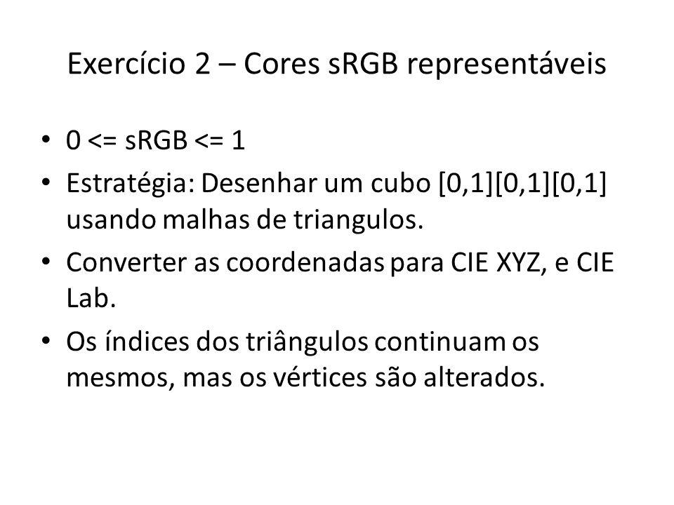 Exercício 2 – Cores sRGB representáveis 0 <= sRGB <= 1 Estratégia: Desenhar um cubo [0,1][0,1][0,1] usando malhas de triangulos. Converter as coordena