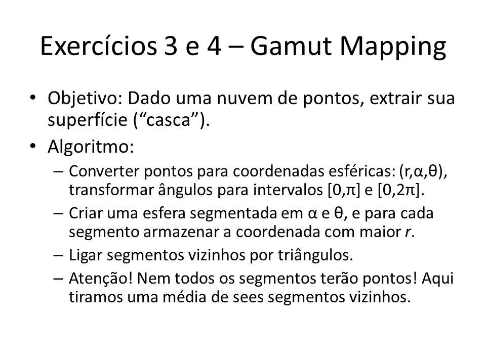 Exercícios 3 e 4 – Gamut Mapping Objetivo: Dado uma nuvem de pontos, extrair sua superfície (casca). Algoritmo: – Converter pontos para coordenadas es