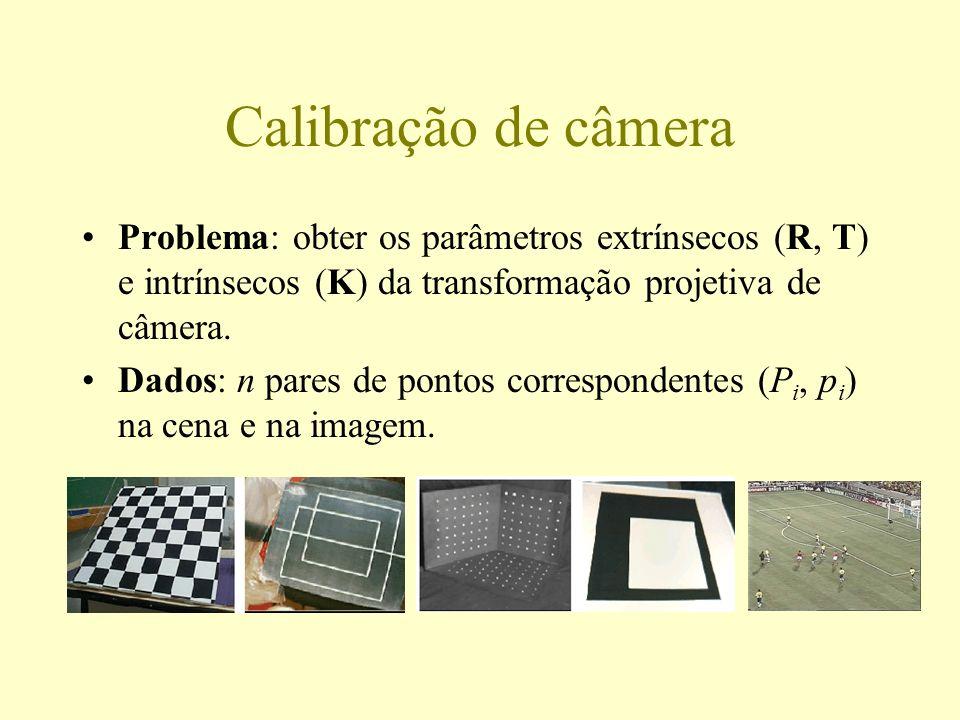 Calibração de câmera Problema: obter os parâmetros extrínsecos (R, T) e intrínsecos (K) da transformação projetiva de câmera. Dados: n pares de pontos