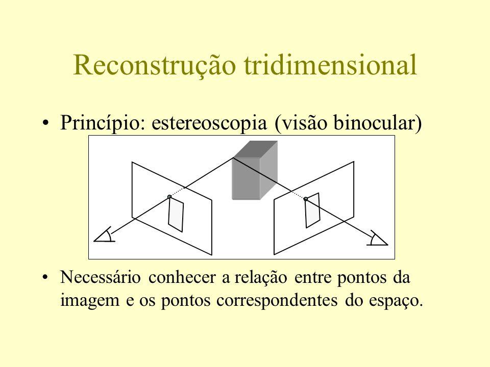 Modelagem e calibração de câmeras Modelagem Qual é a forma da função que associa a cada ponto do espaço sua posição na imagem.
