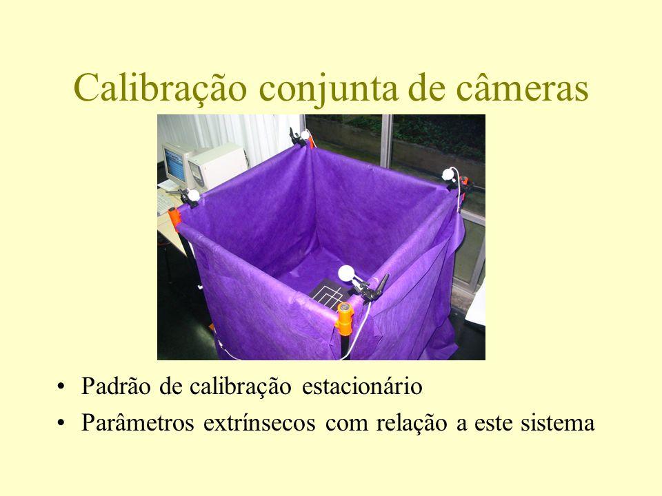 Calibração conjunta de câmeras Padrão de calibração estacionário Parâmetros extrínsecos com relação a este sistema