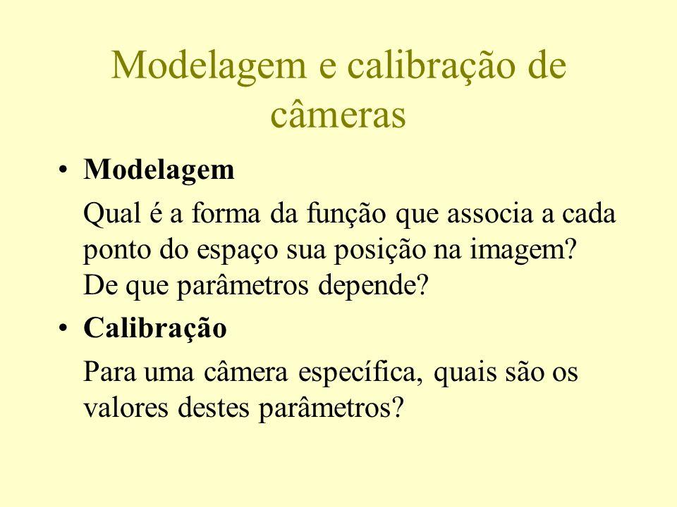 Modelagem e calibração de câmeras Modelagem Qual é a forma da função que associa a cada ponto do espaço sua posição na imagem? De que parâmetros depen
