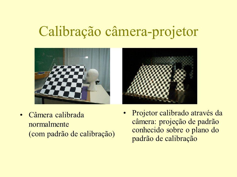Calibração câmera-projetor Câmera calibrada normalmente (com padrão de calibração) Projetor calibrado através da câmera: projeção de padrão conhecido