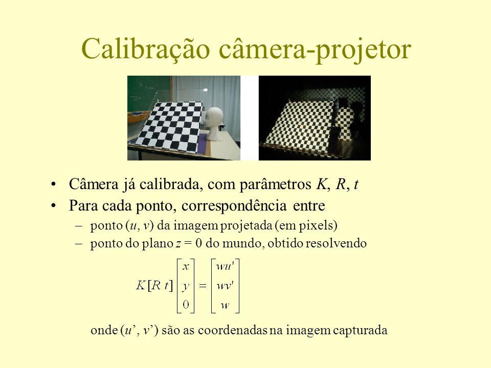 Calibração câmera-projetor Câmera já calibrada, com parâmetros K, R, t Para cada ponto, correspondência entre –ponto (u, v) da imagem projetada (em pi