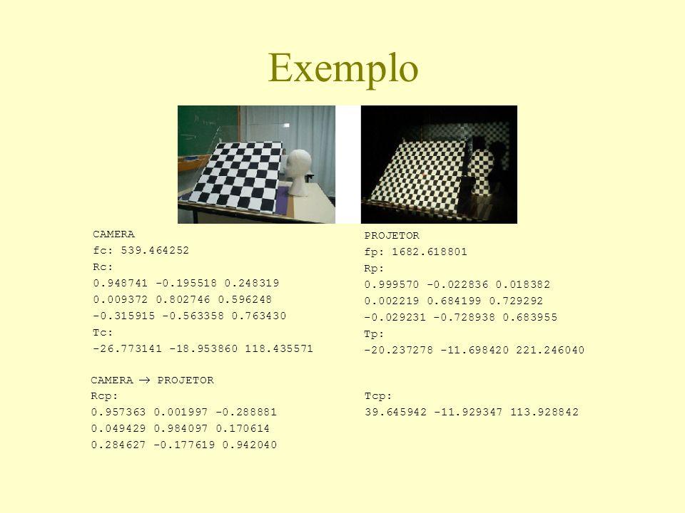 Exemplo CAMERA fc: 539.464252 Rc: 0.948741 -0.195518 0.248319 0.009372 0.802746 0.596248 -0.315915 -0.563358 0.763430 Tc: -26.773141 -18.953860 118.43