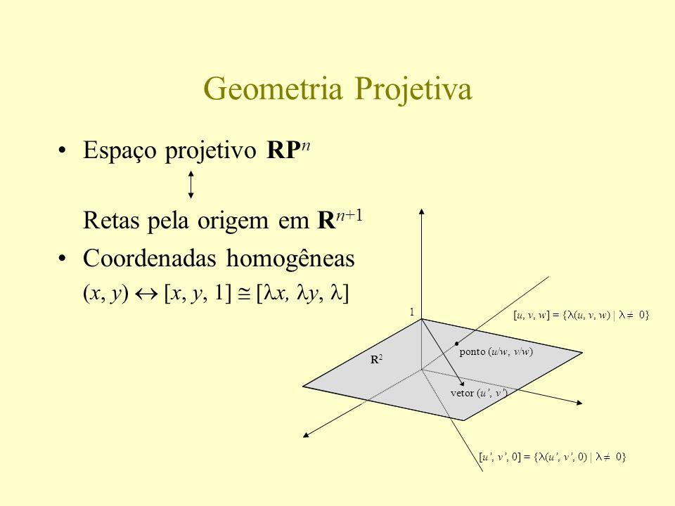 Colineações e transformações projetivas Transformações lineares em R n+1 Colineações em RP n Transformações projetivas em R n R2R2 1 A B C A B C A B C