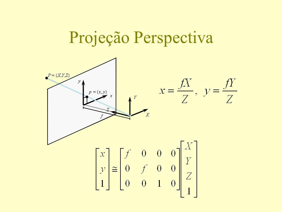 Calibração câmera-projetor Câmera calibrada normalmente (com padrão de calibração) Projetor calibrado através da câmera: projeção de padrão conhecido sobre o plano do padrão de calibração