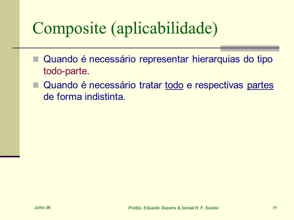 Julho 06 Prof(s). Eduardo Bezerra & Ismael H. F. Santos 11 Composite (aplicabilidade) Quando é necessário representar hierarquias do tipo todo-parte.