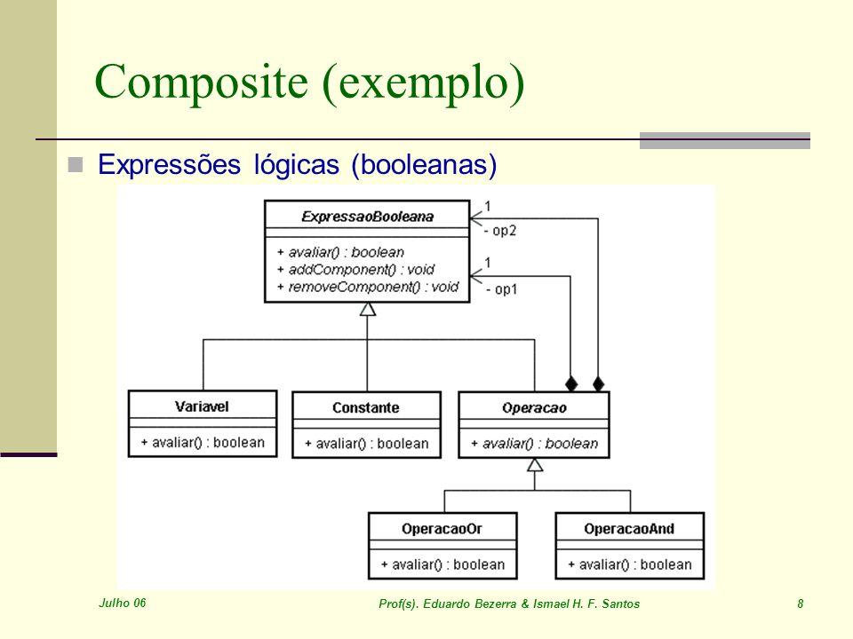 Julho 06 Prof(s). Eduardo Bezerra & Ismael H. F. Santos 8 Composite (exemplo) Expressões lógicas (booleanas)
