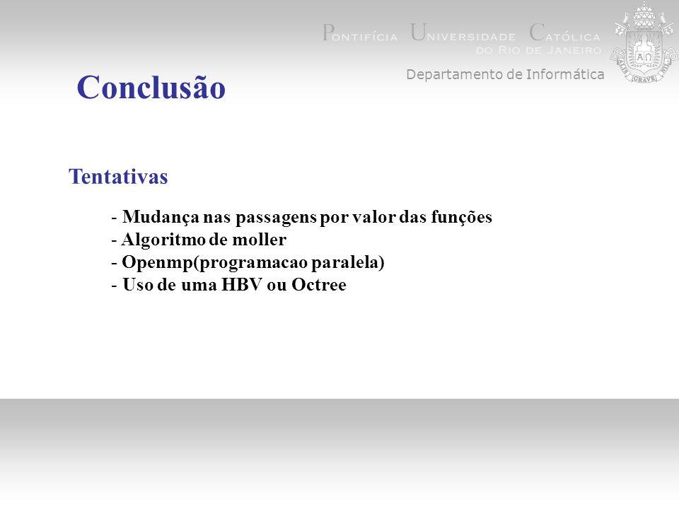 Departamento de Informática Conclusão Tentativas - Mudança nas passagens por valor das funções - Algoritmo de moller - Openmp(programacao paralela) - Uso de uma HBV ou Octree