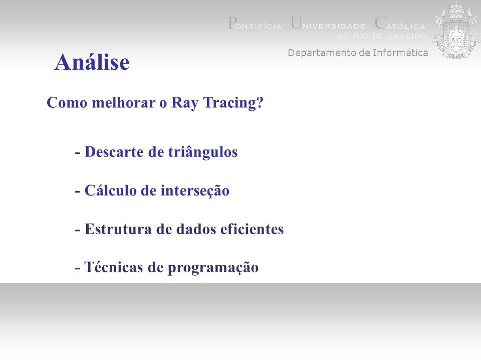 Departamento de Informática Análise Como melhorar o Ray Tracing.