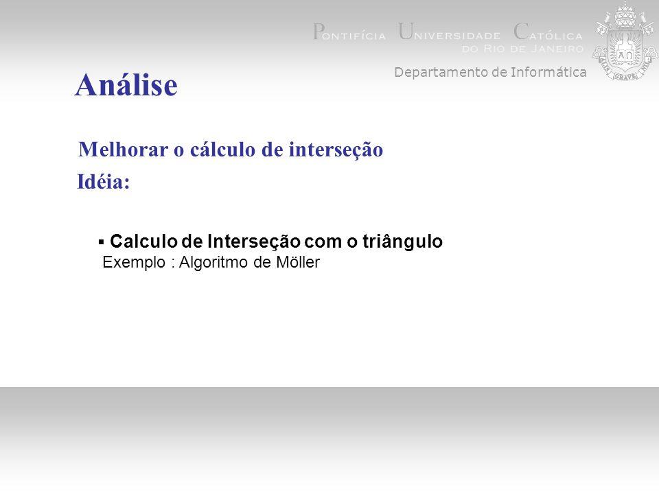Departamento de Informática Análise Melhorar o cálculo de interseção Idéia: Calculo de Interseção com o triângulo Exemplo : Algoritmo de Möller