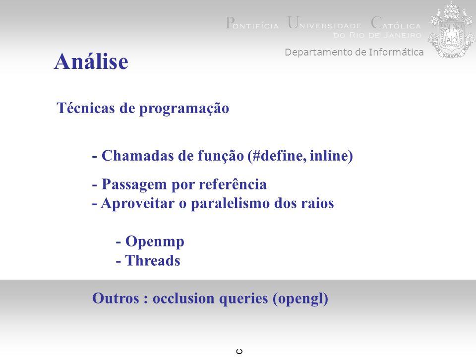 c Departamento de Informática Análise Técnicas de programação - Chamadas de função (#define, inline) - Passagem por referência - Aproveitar o paralelismo dos raios - Openmp - Threads Outros : occlusion queries (opengl)