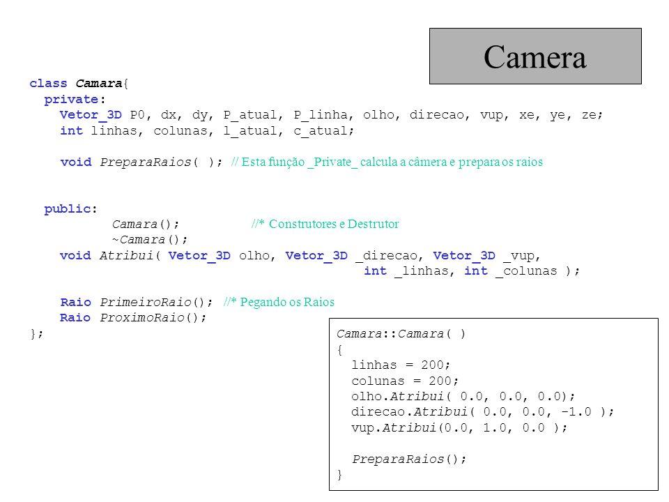 class Camara{ private: Vetor_3D P0, dx, dy, P_atual, P_linha, olho, direcao, vup, xe, ye, ze; int linhas, colunas, l_atual, c_atual; void PreparaRaios